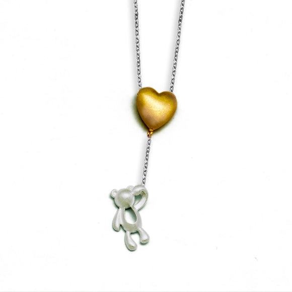 Fashionable Simple  Heart Winnie Bear 925 Sterling Silver Necklace - Beltran's Enterprise