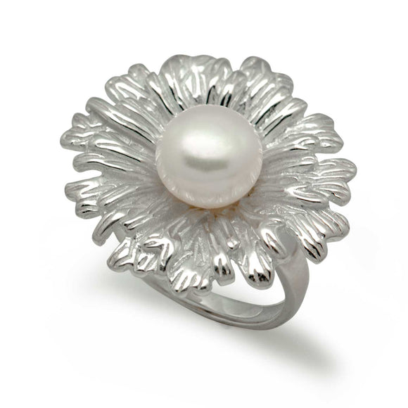 Blooming Flower New 925 Sterling Silver Natural White Pearl Adjustable Ring - Beltran's Enterprise