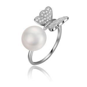 Flying Butterfly Half Round Natural  Pearl 925 Sterling Silver Adjustable Ring - Beltran's Enterprise