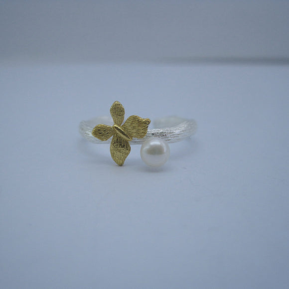 Natural White Pearl Butterfly Adjustable 925 Sterling Silver Ring - Beltran's Enterprise