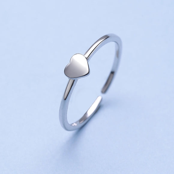 Fashionable Simple Heart Adjustable 925 Sterling Silver Ring - Beltran's Enterprise