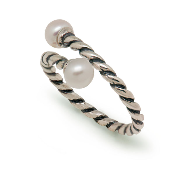 Double Twist Natural Pearl Adjustable 925 Sterling Silver Ring - Beltran's Enterprise