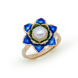 2017 NEW Blue Lotus Enamel 925 Sterling Silver Natural  Pearl Adjustable Ring - Beltran's Enterprise