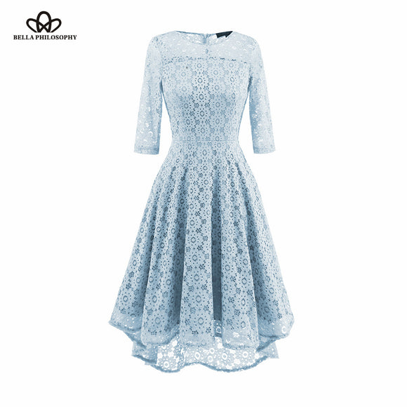 Bella Philosophy 2018 Autumn Winter Dress Women Lace Patchwork Flower Three Quarter Dress Female Vintage Hollow Out Zipper Dress - Beltran's Enterprise
