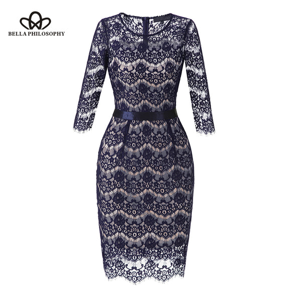 Bella Philosophy 2018 Spring Summer Lace bodycon Dress Women Three Quarter Sleeve Hollow Out Party Dress Female Vintage Slim - Beltran's Enterprise