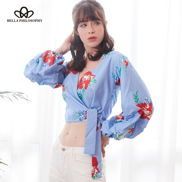 Bella Philosophy 2018 spring women short Japan Style blouse full puff sleeve ladies V Neck shirt - Beltran's Enterprise