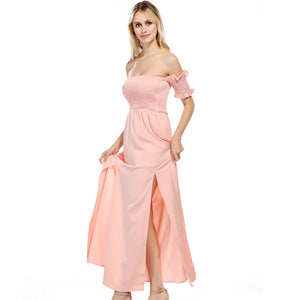 Bella Philosophy summer women sexy pink high waist ankle length dress slash neck strapless a line dress casual beach split dress - Beltran's Enterprise