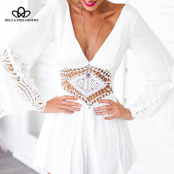Bella Philosophy 2018 summer hollow out women jumpsuit backless sexy ladies rompers v-neck female sexy playsuit - Beltran's Enterprise