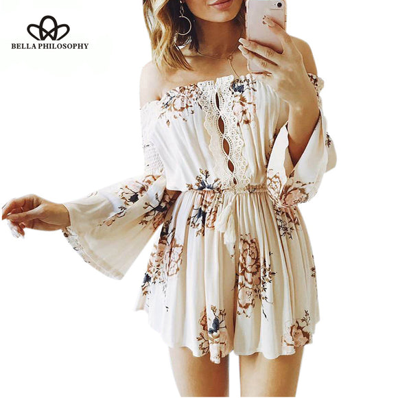 BellaPhilosophy summer casual floral printed loose playsuits lace up chiffon lace hollow out jumpsuits - Beltran's Enterprise