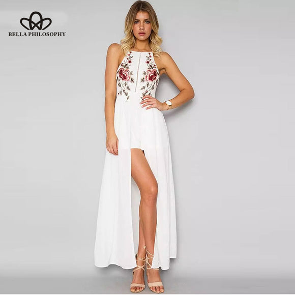 Bella Philosophy summer bohemian floral embroidery backless playsuits high split halter spaghetti strap rompers casual jumpsuits - Beltran's Enterprise