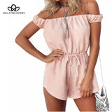 Bella Philosophy summer women pink casual off shoulder rompers female sexy clubwear playsuits lace up cotton fashion jumpsuits - Beltran's Enterprise
