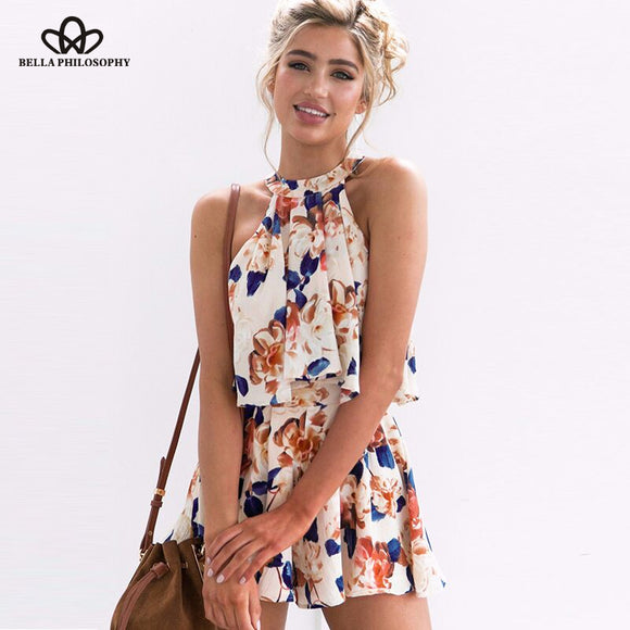 Bella philosophy summer women floral printedrompers halter 2 pieces tops and shorts sexy jumpsuits loose clubwear bow playsuits - Beltran's Enterprise