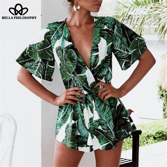 Bella Philosophy 2018 summer bohemian women v-neck jumpsuit wrap lace up print female rompers casual loose ladies bodysuit - Beltran's Enterprise