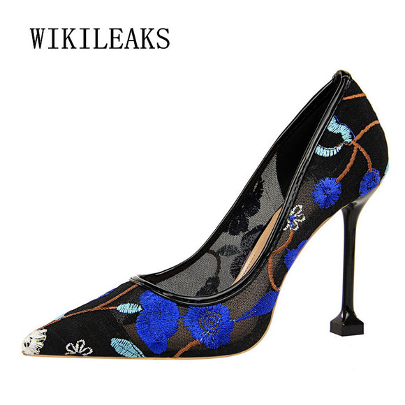 flowers embroidered women shoes high heel wedding shoes woman pumps sexy high heels lace hollow - Beltran's Enterprise