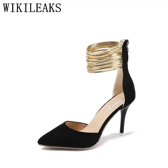 elegant mary jane shoes designer metal chain women high heels pointed toe party high heel ladies - Beltran's Enterprise