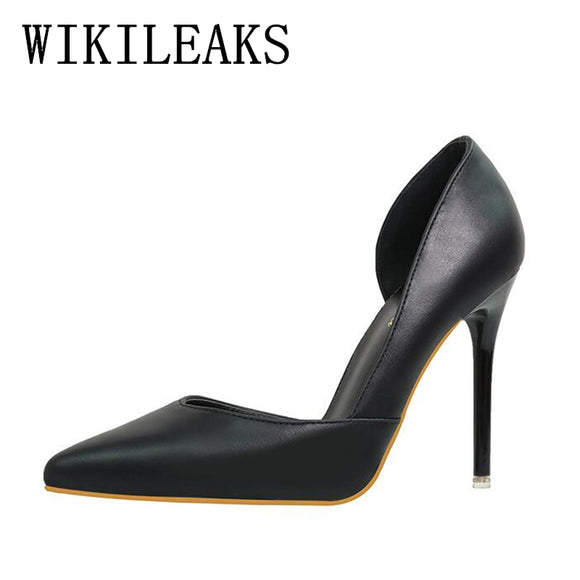 elegant pointed toe leather pumps women shoes sexy red high heels designer shoes women luxury 2018 - Beltran's Enterprise
