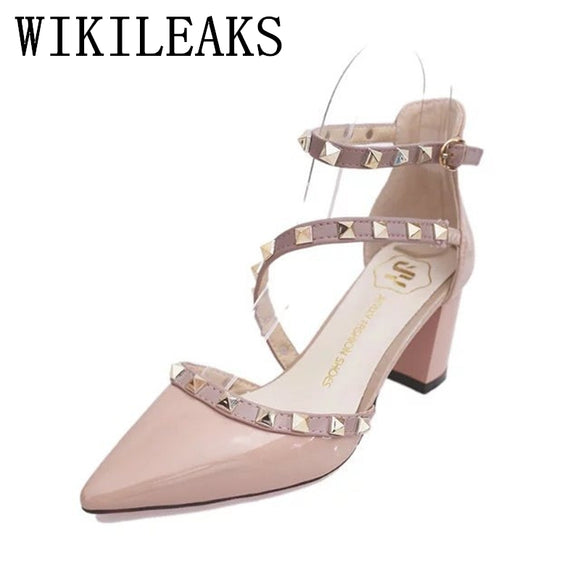summer medium heel shoes women pointed toe gladiator sandals women patent leather rivet pumps - Beltran's Enterprise