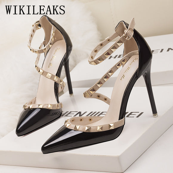 women shoes high heel ladies Rivet shoes woman pumps designer sexy high heels sandals - Beltran's Enterprise