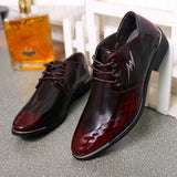 new italian oxford shoes for men patent leather black shoes mens pointed toe wedding dress shoes - Beltran's Enterprise