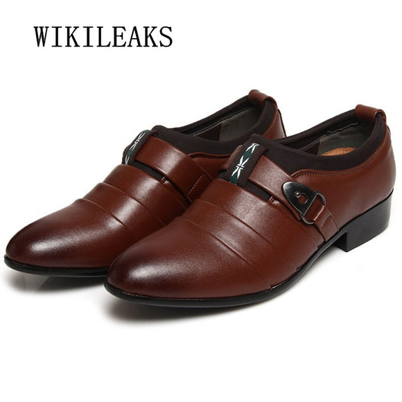 men shoes pointed toe leather shoes men wedding dress shoes 2018 italian formal oxford shoes - Beltran's Enterprise
