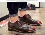 2018 genuine leather pointed toe mens shoes brogue carved oxford shoes for men - Beltran's Enterprise