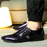 pointed toe dress shoes mens patent leather black shoes wedding dress oxford shoes for men designer - Beltran's Enterprise