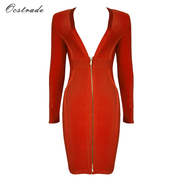 Christmas Women New Arrival 2017 Red High Quality Long Sleeve Bodycon Dress Deep v-neck Sexy Bandage Dress Party Vestidos - Beltran's Enterprise