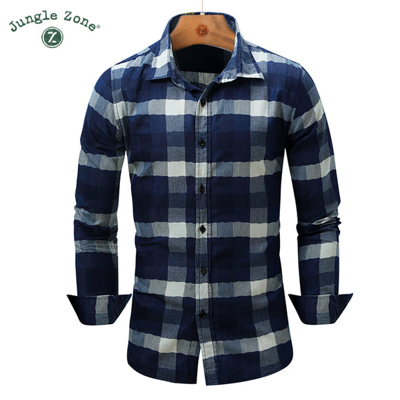 JUNGLE ZONE european size Men's Shirt Fashion Denim Shirts Classic lattice design - Beltran's Enterprise