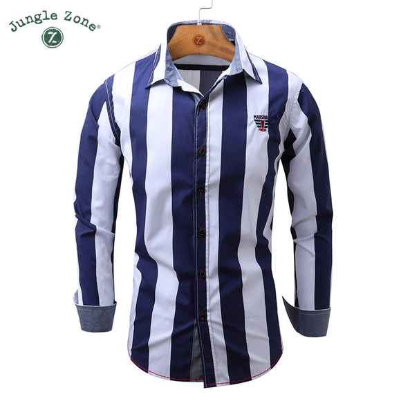 JUNGLE ZONE NEW ARRIVAL MEN Casual Shirts European size Long Sleeve Shirt Striped - Beltran's Enterprise