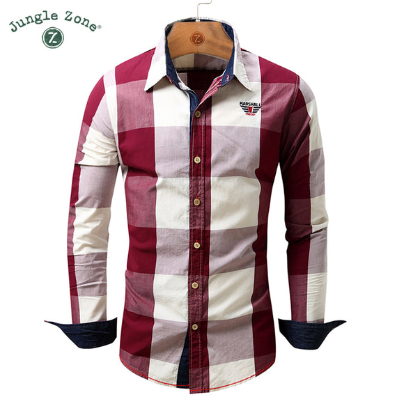 JUNGLE ZONE European size fashion plaid design men's long-sleeved shirts casual shirt - Beltran's Enterprise