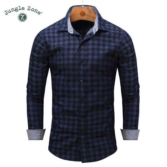 male casual shirt men brand clothing European size 100% cotton long sleeve plaid dress - Beltran's Enterprise