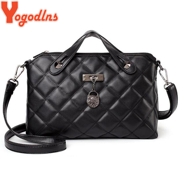 Yogodlns Women Leather Handbags Hot Selling Tote Female Plaid Shoulder Bag Large Capacity Crossbody Bags Rivet Top-handle Bag - Beltran's Enterprise