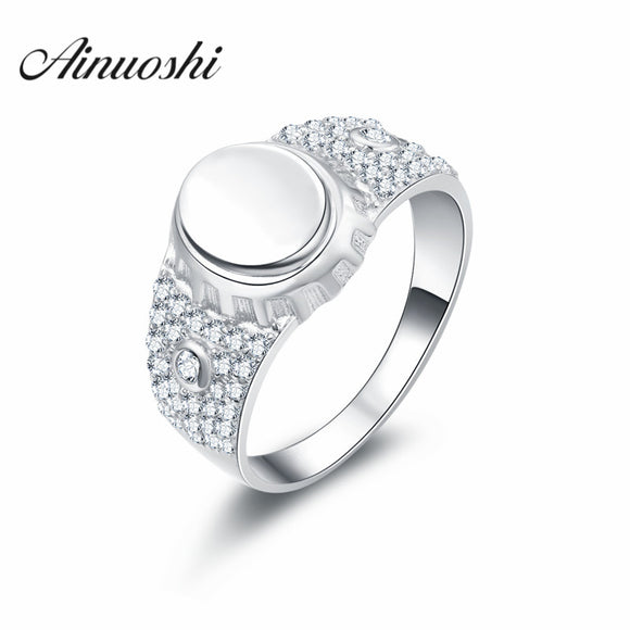 AINOUSHI New Men's Ring Jewelry wholesale Solid 925 Sterling Silver Cubic Zirconia - Beltran's Enterprise