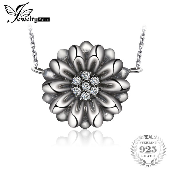 JewelryPalace Vintage Flower 0.1ct Cubic Zirconia Necklace With 18 Inches Chain 925 Sterling Silve hot selling  for mom gift - Beltran's Enterprise