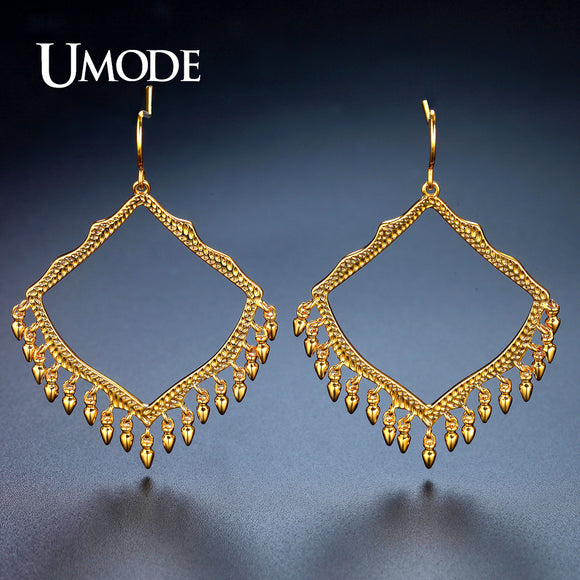 UMODE Brand Design Big Hollow Rhombus Drop Earrings for Women Gold Color Brincos Party Wedding Jewelry Hot Christmas Gift UE0320 - Beltran's Enterprise