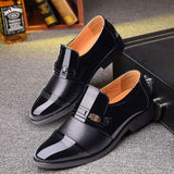 mens pointed toe dress shoes patent leather men shoes loafers slip on wedding shoes - Beltran's Enterprise
