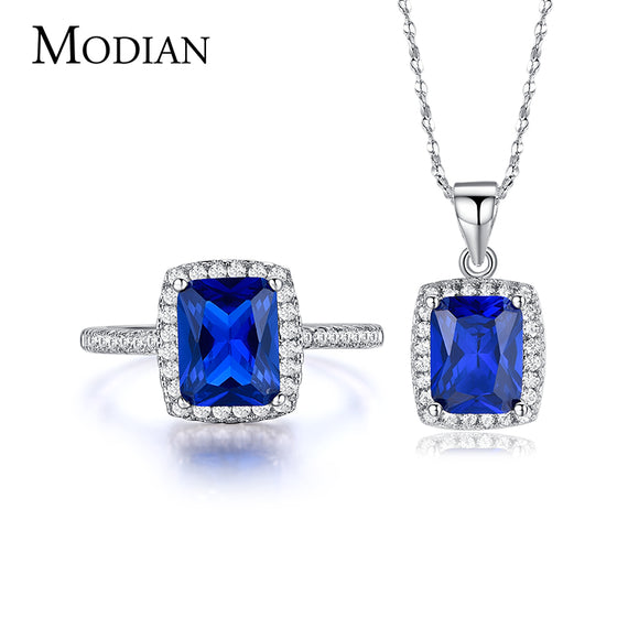 R&J 5 Color New fashion Blue 5A Zircon 925 Sterling Silver Jewelry Set Necklace/Pendant/ Ring for women - Beltran's Enterprise