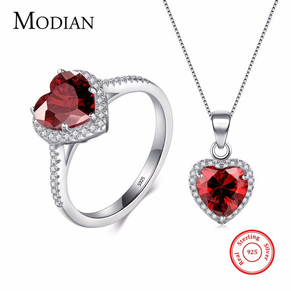 Modian Genuine Solid 925 Sterling Silver Hearts Sets Jewelry Red Ring Necklace Wedding Crystal Pendant - Beltran's Enterprise