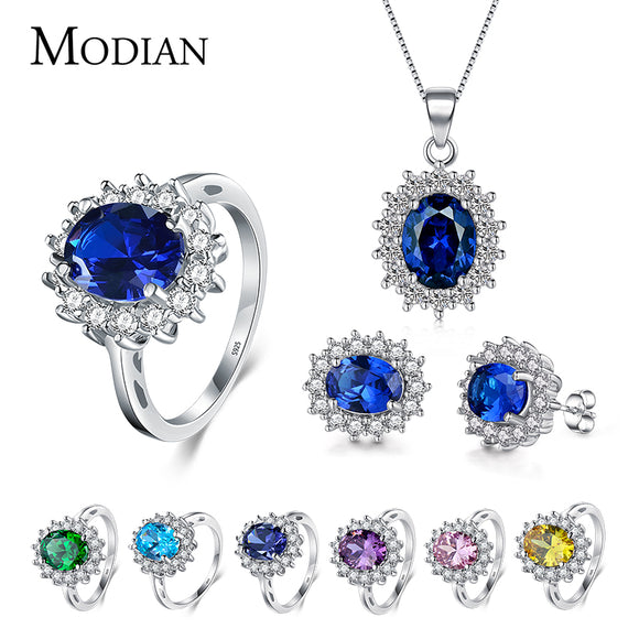 7 Color Classic Real 925 Sterling silver Jewelry Sets Fashion Earrings Clear Oval Crystal Pendant Necklace - Beltran's Enterprise