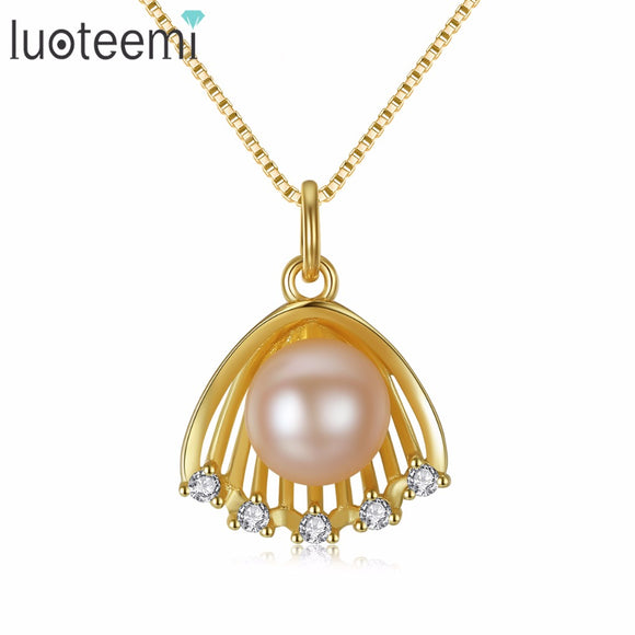 LUOTEEMI Vogue Charm Fascination Enchantment Shell Shape Pendant Sterling Silver Freshwater - Beltran's Enterprise