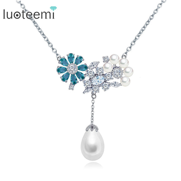 LUOTEEMI Newest Charming Jewelry CZ Flower with Tear Drop Pearl Pendant White Gold - Beltran's Enterprise