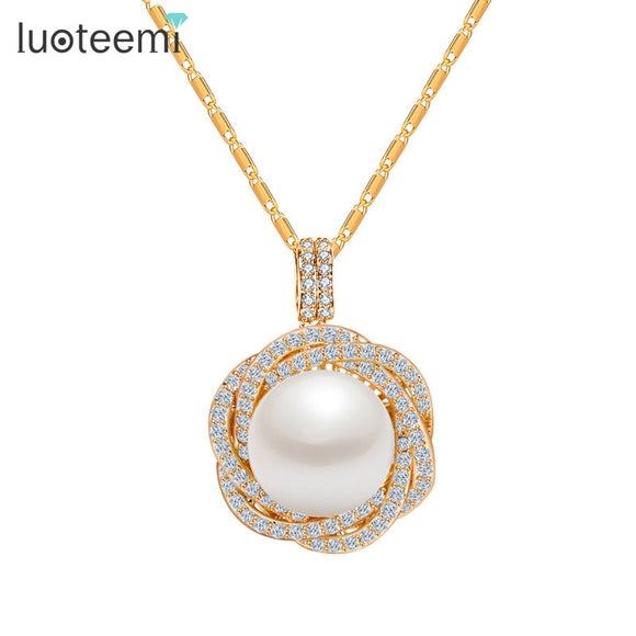 LUOTEEMI New Design Free Shipping High Quality Flower CZ Round Big Pearl Pendant Necklace - Beltran's Enterprise