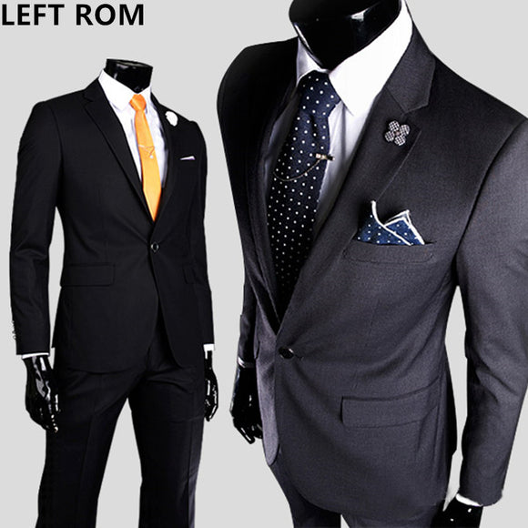 LEFT ROM High quality men one button slim small suit groom best man Full dress coat - Beltran's Enterprise