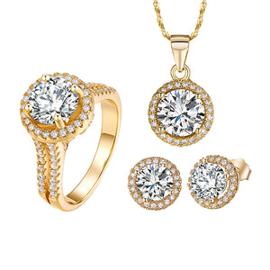90% off Wedding Jewelry Sets for Brides 925 Sterling Silver Set Gold Color Stud Earrings Ring - Beltran's Enterprise
