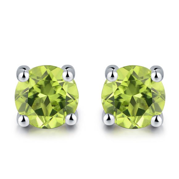 1.0ct Natural Green August Peridot Sterling Silver Studs Round Stud Earrings Sweet Gift - Beltran's Enterprise