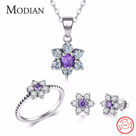 Modian Classic Real 100% 925 Sterling silver Ring & Earring Fashion Crystal Clear Stud Earrings - Beltran's Enterprise