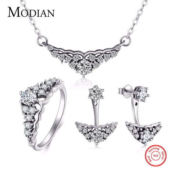 Modian Real 925 Sterling Silver Crown Jewelry Set Classic Wedding Ring Fashion Pendant Necklace - Beltran's Enterprise