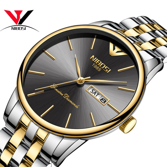 NIBOSI Watch Men Fashion Sport Quartz Clock Men Waterproof Steel Band Reloj Hombre Gold - Beltran's Enterprise
