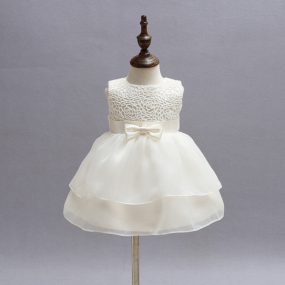 Newborn Baby Girl Dress Christening Gown White Flowers First 1st Birthday Party - Beltran's Enterprise
