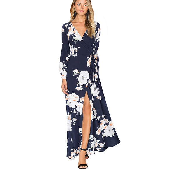 Women Casual Floral Print Dress Elegant Full Sleeve Sexy V Neck Long Maxi Dress EA092 - Beltran's Enterprise